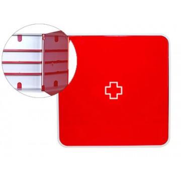 Caixa para Medicamentos Plástico 3 Estantes 320x70x320mm Vermelho
