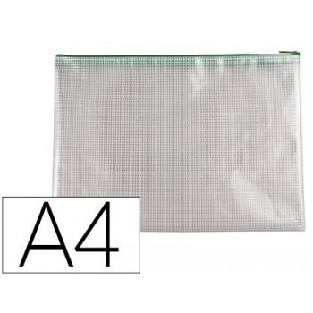 Bolsa Multiusos A4 PVC Abertura Superior com Fecho Verde Q-Connect