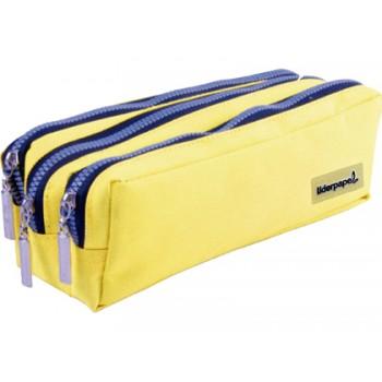 Estojo Rectangular 185x80x70mm 3 Bolsos Amarelo Pastel