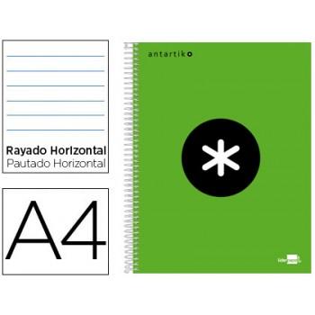 Caderno A4 Espiral 120Fls 100gr Pautado 5 Bandas Capa Dura Verde