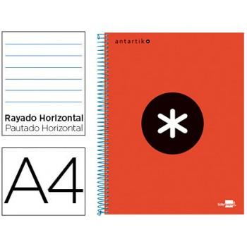 Caderno A4 Espiral 120Fls 100gr Pautado 5 Bandas Capa Dura Vermelho
