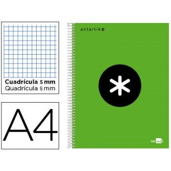 Caderno A4 Espiral 120Fls 100gr Xadrez 5 Bandas Capa Dura Verde