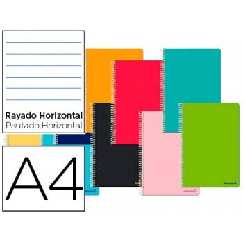 Caderno A4 Espiral 140 Folhas Capa de Cartão Pautado