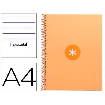 Caderno A4 Espiral 80 Folhas 90gr 4 Furos Capa Cartão Pautado Amarelo
