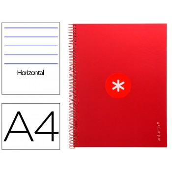 Caderno A4 Espiral 80 Folhas 90gr 4 Furos Capa Cartão Pautado Vermelho