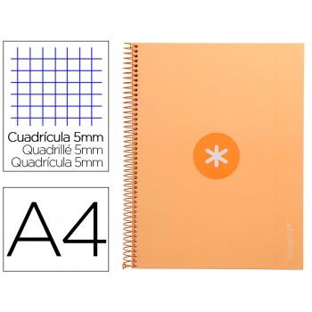 Caderno A4 Espiral 80 Folhas 90gr 4 Furos Capa Cartão Xadrez Amarelo