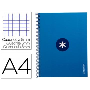 Caderno A4 Espiral 80 Folhas 90gr 4 Furos Capa Cartão Xadrez Azul