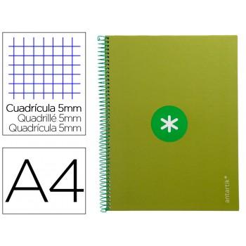 Caderno A4 Espiral 80 Folhas 90gr 4 Furos Capa Cartão Xadrez Verde