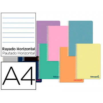 Caderno A4 Espiral 80 Folhas 90gr Capa Plástica Pautado
