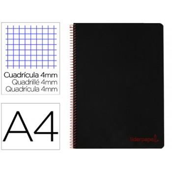 Caderno A4 Espiral 80 Folhas 90gr Capa Plástica Xadres Preto