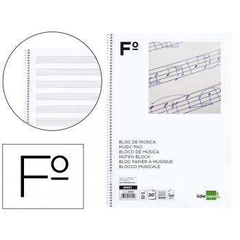 Caderno de Música Espiral Fólio Pentagrama 20 Folhas 100 gr