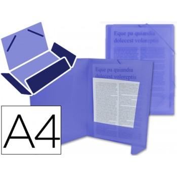 Capa A4 Com Elásticos Plástico PP 400 Microns Translúcido Azul