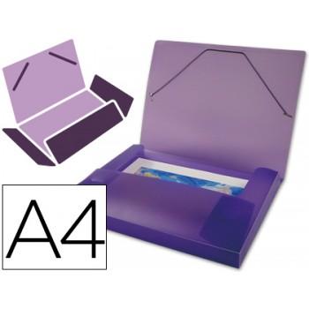 Capa A4 Com Elásticos Plástico PP 700 Microns Lombada Rígida Violeta Beautone