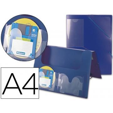 Capa A4 Com Elásticos Plástico PP Lombada Rígida 2 Bolsas Azul