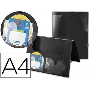 Capa A4 Com Elásticos Plástico PP Lombada Rígida 2 Bolsas Preta Beautone