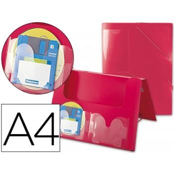 Capa A4 Com Elásticos Plástico PP Lombada Rígida 2 Bolsas Vermelha