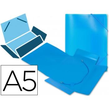 Capa A5 Com Elásticos Plástico PP 400 Microns Translúcido Azul
