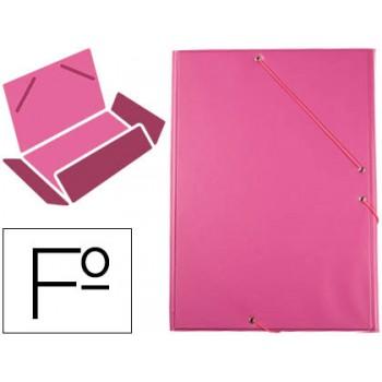 Capa Com Elásticos e Abas Plástico Folio 240x335mm Fúcsia