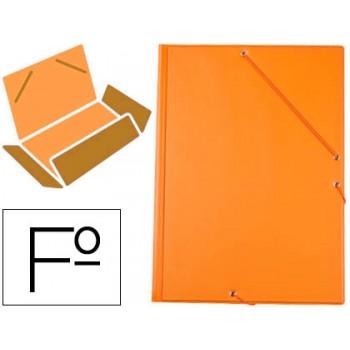 Capa Com Elásticos e Abas Plástico Folio 240x335mm Laranja