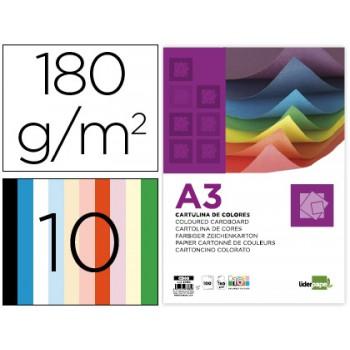 Cartolina A3 180Grs 100 Folhas com 10 Cores Sortidas