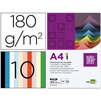 Cartolina A4 180Grs 100 Folhas com 10 Cores Sortidas