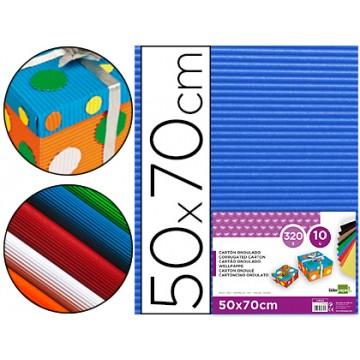 Cartão Ondulado 320gr 50x70cm Azul Pack 10 Unidades