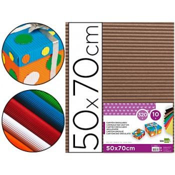 Cartão Ondulado 320gr 50x70cm Castanho Pack 10 Unidades
