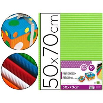 Cartão Ondulado 320gr 50x70cm Verde Pistacho Pack 10 Unidades