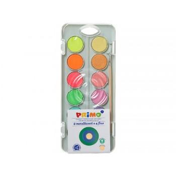 Aguarelas 8 Cores Metal + 4 Cores Neon com Pincel Primo