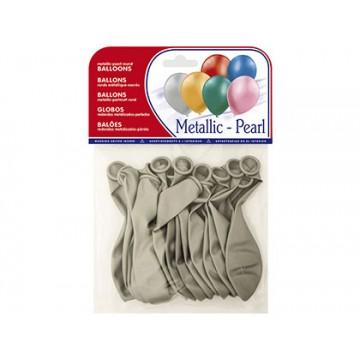 Balões Redondos Metalizados Prata 15 Unidades
