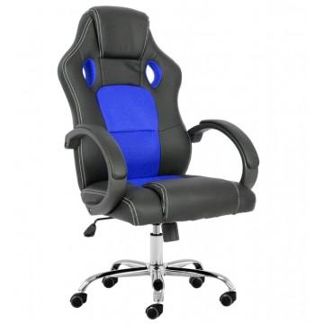 Cadeira de Escritório Giratória Pele Sintética Preta Tecido Mesh Azul Sepang