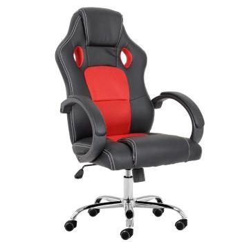 Cadeira de Escritório Giratória Pele Sintética Preta Tecido Mesh Vermelho Sepang