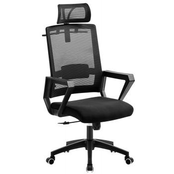 Cadeira de Escritório Aston Preta Giratória Rede e Tecido Preto