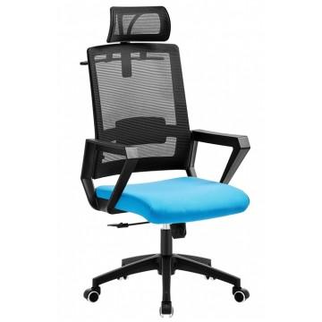 Cadeira de Escritório Aston Preta Giratória Rede Preta e Tecido Azul