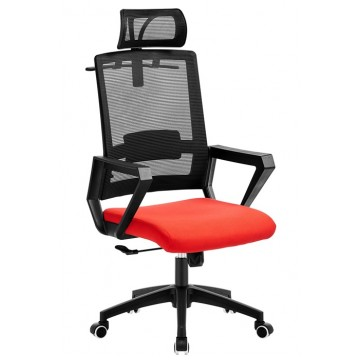 Cadeira de Escritório Aston Preta Giratória Rede Preta e Tecido Vermelho