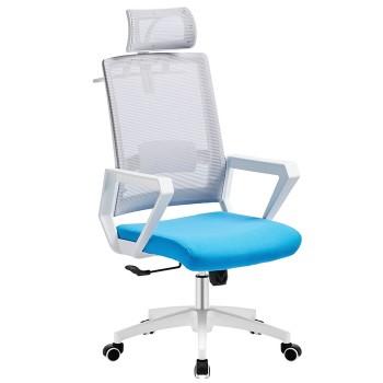 Cadeira de Escritório Aston Branca Giratória Rede Cinza e Tecido Azul