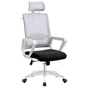 Cadeira de Escritório Aston Branca Giratória Rede Cinza e Tecido Preto