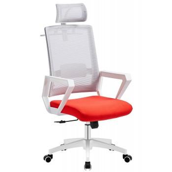 Cadeira de Escritório Aston Branca Giratória Rede Cinza e Tecido Vermelho