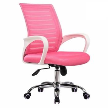 Cadeira de Escritório Giratória Sunset Branco Rede e Tecido Rosa
