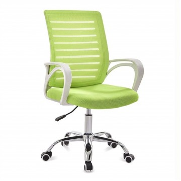 Cadeira de Escritório Giratória Sunset Branco Rede e Tecido Verde
