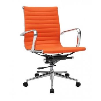 Cadeira De Escritório Pele Sintética Laranja Philip-G-Na
