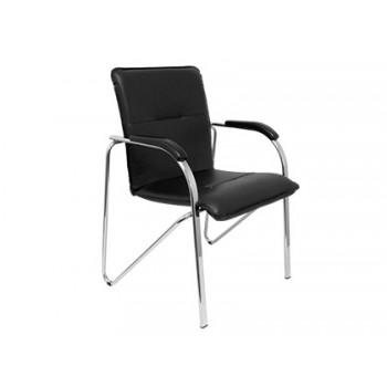 Cadeira Confidente Estrutura Cromada com Braços Simi Pele Preta Pack 2 Unidades