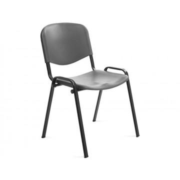 Cadeira Confidente Estrutura Cromada Encosto e Assento Polimero cinza Rocada