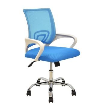Cadeira de Escritório Giratória Braços Brancos Rede e Tecido Azul Claro