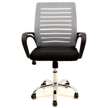 Cadeira de Escritório Giratória Sunset Preta Rede Cinza e Tecido Preto