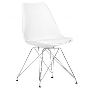 Cadeira De Visitante Cromada Polipropileno e Coxim Torre-cr-bb Branco