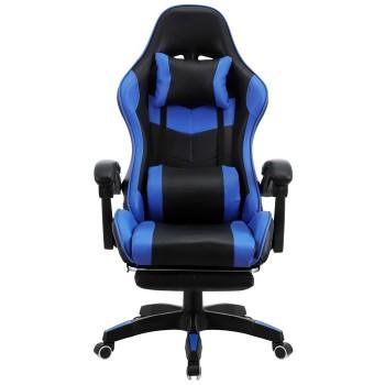 Cadeira de Escritório Sakhir Racing Apoio para Pés Pele Sintética Azul e Preta
