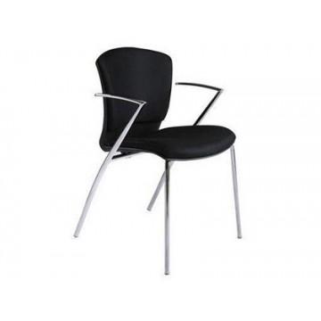 Cadeira Confidente Estrutura Cromada Forrada em Preto Rocada