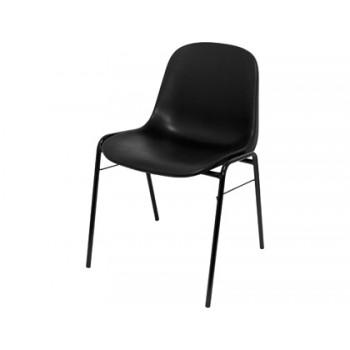 Cadeira De Escritório Confidente Estrutura Tubo Metal Encosto PVC Ergonómica Preto