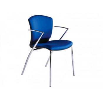 Cadeira De Escritório Confidente Estrutura Cromada Forrada em Azul Rocada